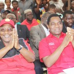UPND leader Hakainde Hichilema and his vice Geoffrey Mwamba (l) shortly after recieving defectors from the ruling PF party in Kabwe on April 18, 2018 - Picture by Tenson Mkhala