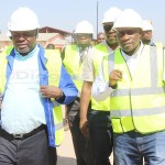 Minister of Housing and Infrastructure Ronald Chitotela with Engineer Mususoni Mumba and RDA officials inspect the construction of Lusaka's Lumumba road on May 10, 2018 - Picture by Tenson Mkhala