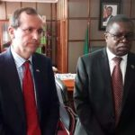 Foreign Affairs Minister Joe Malanji with British High Commissioner to Zambia Fergus Cochrane-Dyet during a press briefing on June 22, 2018