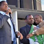 President Edgar Lungu welcomes Kanyama Ward 10 UPND councillor Brighton Bilima to the Patriotic Front during a public rally on July 16, 2018 - picture courtesy of Smart Eagles