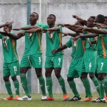 Zambia players celebrate goal from Lameck Banda (number 16) during the 2017 Cosafa Under 17 Youth Championship football match between Zambia and Madagascar at Francois Xavier Stadium in Port Louis, Mauritius on 21 July 2017 ©Gavin Barker/BackpagePix