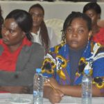 NGOCC Board Chairperson Mary Mulenga (l) listens as UPND national chairperson Mutale Nalumango makes a submission during an NGOCC organised public discussion forum on political violence against women, on Friday, March 7, 2019 - picture by Thomas Mulenga