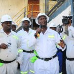Mines Minister Richard Musukwa and his team during a tour of KCM