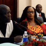Davies Mwila and his deputy Mumbi Phiri during a Central Committee meeting at State House