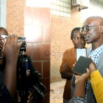 Former NAREP president Elias Chipimo speaks to journalists at Lusaka Magistrates premises shortly after his son was sentenced to nine months imprisonment on January 20, 2020 - Picture by Tenson Mkhala