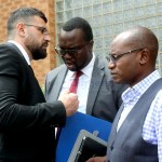 L-r: Intelligent Mobility Solutions board chairman Walid El Nahas, lawyer Jonas Zimba and former special assistant to the President for press and public relations Amos Chanda when they appeared at the Lusaka Magistrates' Court on January 28, 2020 – Picture by Tenson Mkhala