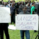 University of Zambia and Allied Workers Union, University of Zambia Professional Staff Union and University of Zambia Lecturers and Researches Union in Lusaka protest over delayed salaries at UNZA Main Campus on February 26, 2020 Picture by Tenson Mkhala