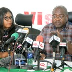 Health Minister Chitalu Chilufya flanked by Information and Broadcasting Service Minister Dora Siliya addresses journalists at his office in Lusaka on March 22, 2020 – Picture By Tenson Mkhala