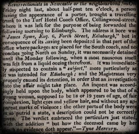 Resurrection Men in Newcastle or in the Neighbourhood Durham County Advertiser Saturday 24 September 1825