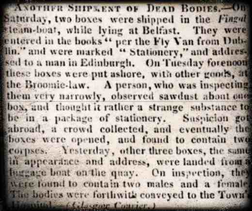 Another Shipment of Dead Bodies Hampshire Advertiser  Monday 25 December 1826 British Newspaper Archive