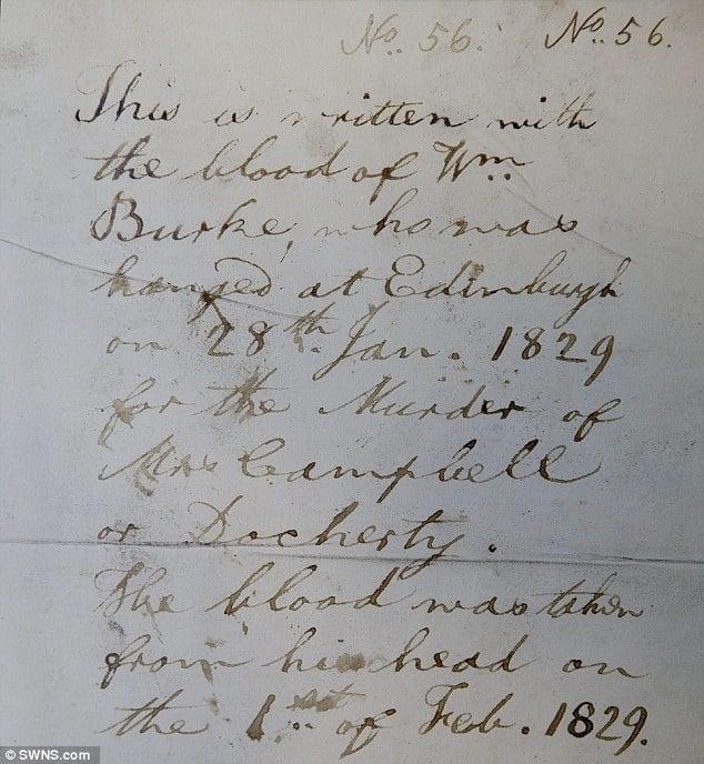 Letter written in William Burke's Blood held at The University of Edinburgh Archives, Edinburgh