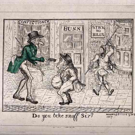 A street scene with a tall man offering snuff to a short fat man. Coloured etching byW P1827