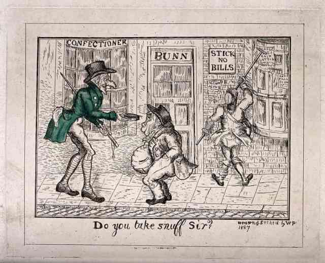 A street scene with a tall man offering snuff to a short, fat man. Coloured etching by W.P., 1827. Via Wellcome Collection