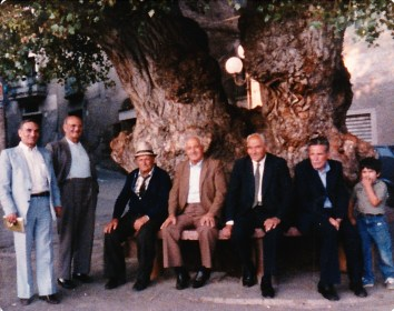 Italian Americans with-Pietro with men in village Serra Pedace 1985
