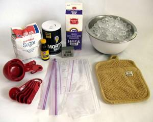 ingredients to make your own ice cream in a bag