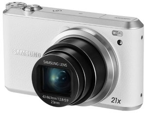 SamsungWB350F16.3MPCMOSSmartWiFi-NFCDigitalCamerawith21xOpticalZoomand3.0TouchScreenLCDand1080pHDVideo-White-1-1