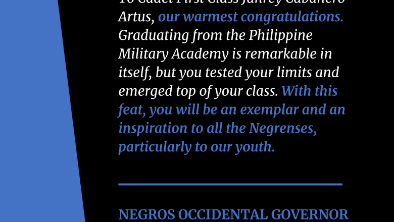 FULL TEXT | Statement of Negros Occidental Governor Eugenio Lacson on the Negrense who topped the PMA Class of 2021