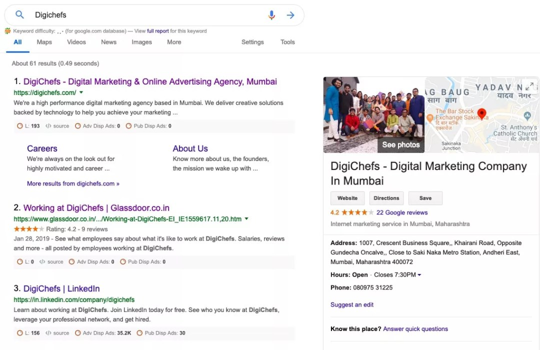 Digichefs Google My Business Listing