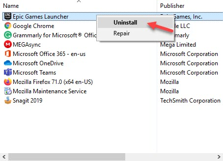 Uninstall_Epic_game_launcher