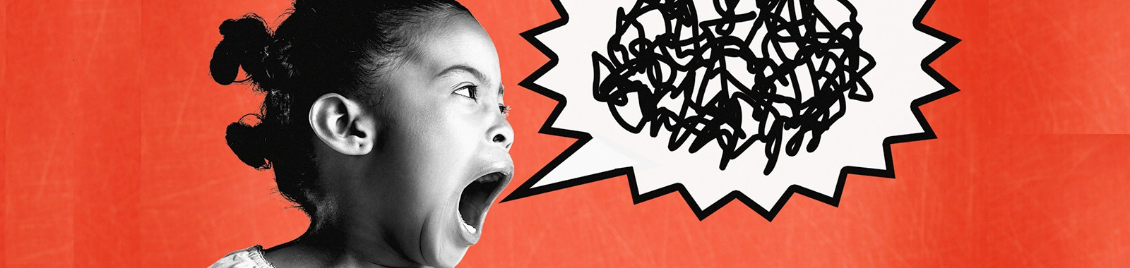 Girl (6-8) yelling (Digital Composite)