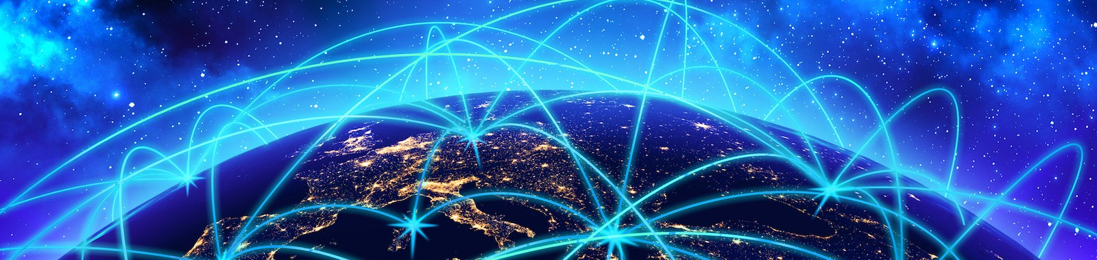 Earth globe night view with connect lines on deep blue space background.