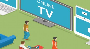 Streaming TV isometric flat vector illustration. People watch online TV on different internet-enabled devices like PC, laptop, TV set tablet, smartphone.