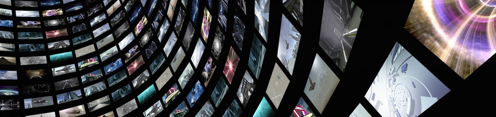 A 3D rendered image of a video wall. A curved media image screen which shows many small monitors.