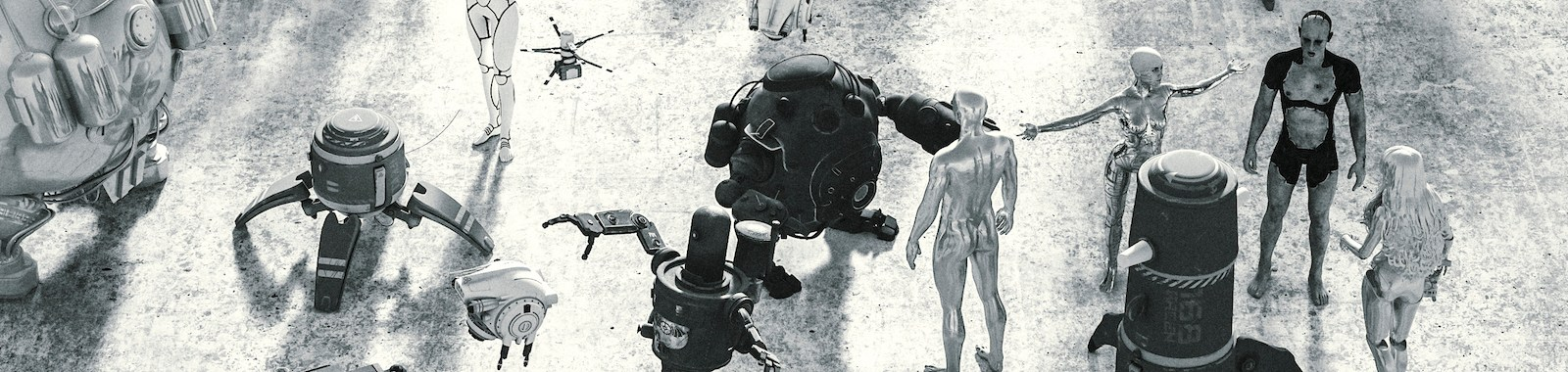 Last man arguing with drone robot.