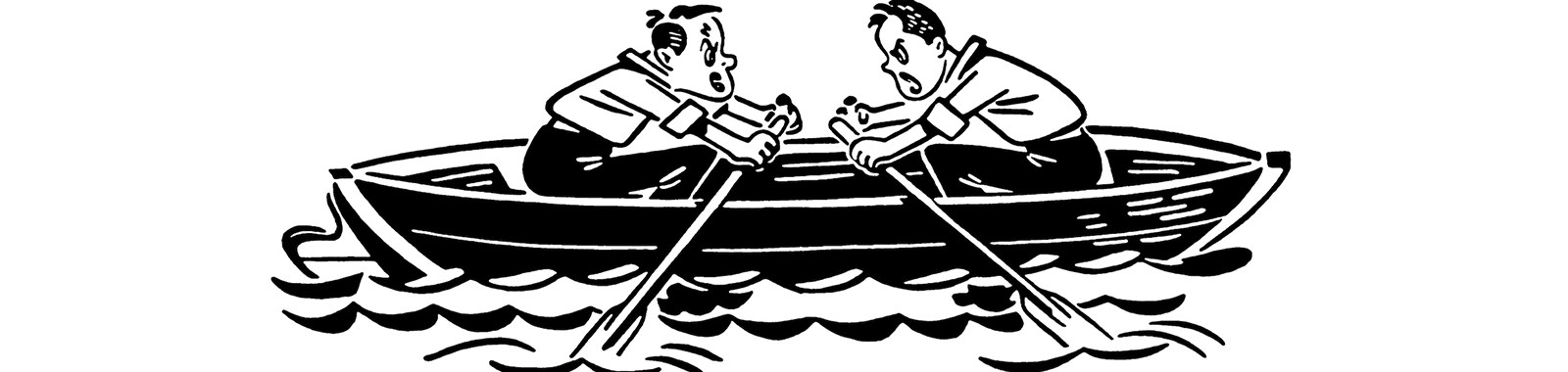 Two People in canoe Paddling in Opposite Directions
