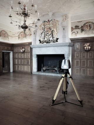 Laser scanning Laich Hall with a Leica P40 scanner in the Royal Apartments, Edinburgh Castle Palace.