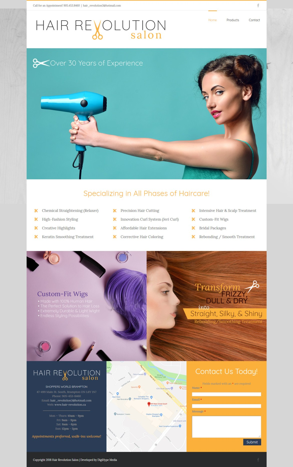Oakville Hair Salon, Barber & Spa (Website design Mockup)
