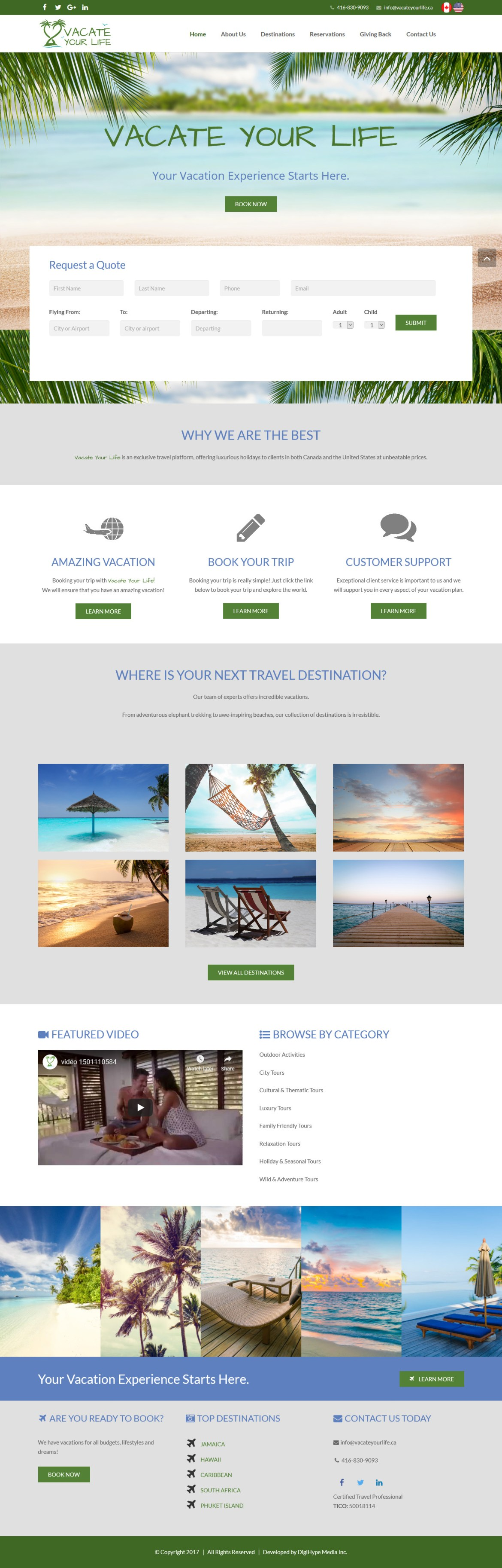 Local Toronto Travel Agency (website UX design)