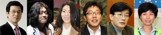 왼쪽부터 신경민 앵커, 가수 윤도현, 탤런트 김민선, MC 김제동, 손석희 교수, 개그우먼 김미화.