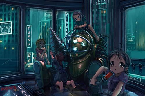 「Bioshock」のBig Daddyがアニメ化された壁紙