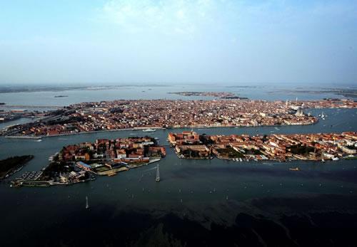 空から眺める水の都ヴェネツィア