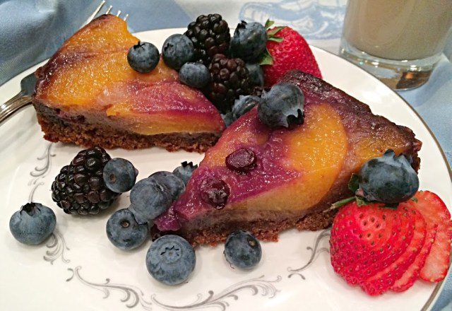 Peach, blueberry and whole wheat upside down cake.