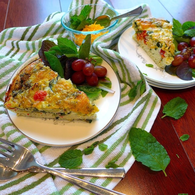 Garnish Greek Frittata with salad leaves and grapes or fresh fruit in season.