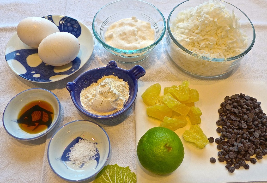 All you need to make coconut macaroon cookies.
