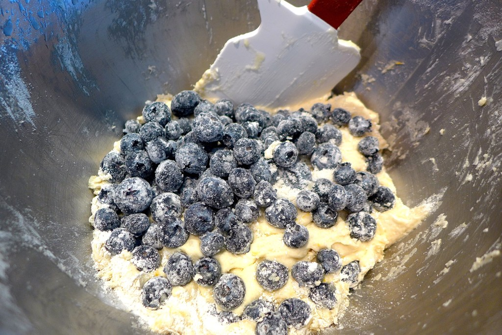 Use the mixer to add the liquid ingredients to the butter/sugar mixture and mix well. Add flour in three additions and mix on low just until flour disappears. Switch to a spatula and fold in the blueberries gently, by hand.