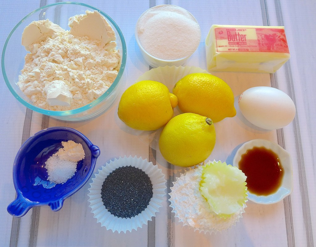 All you need to make Lemon poppyseed cookie cups and lemon icing.