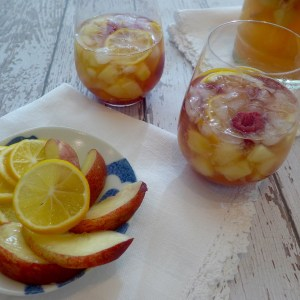 Choose the kind of white and any fruit you like. Sparkling white wine with nectarines and raspberries is just one of endless combinations you can make for your own special Sangria!