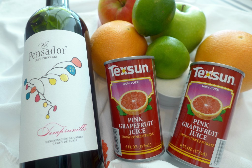 angria makes any day feel like a special occasion. Just mix wine, fruit and (a little) sugar. Don't like grapefruit? Substitute oranges and orange juice instead. Crisp apples add color and crunch. If you like a stronger brew, add 1/4 cup (60 ml) vodka, brandy, or triple sec.