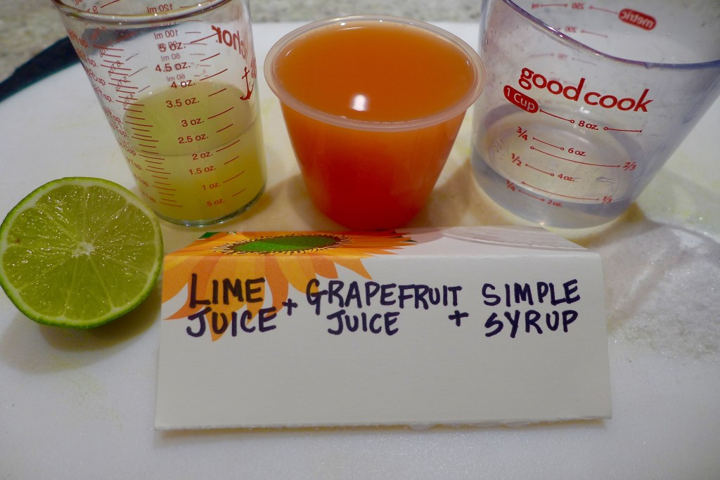 Measure out juices, simple syrup and any other liquors (optional).
