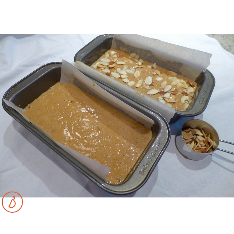 Pour batter into two parchment lined loaf pans, sprinkle with nuts and bake.