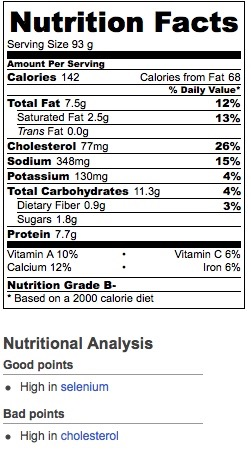 Nutritional Information based upon Italian white bread and whole dairy milk