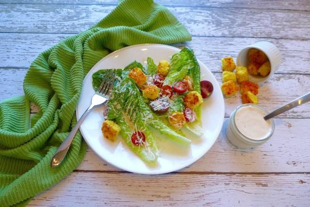 Caesar Salad with Cornbread Croutons