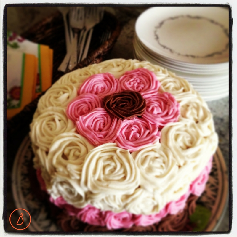 Three layer rose birthday cake made by Dana and daughter for daughter's birthday.