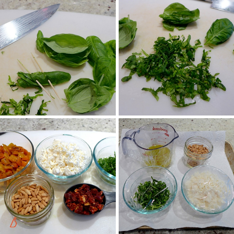 Chop basil into shreds, measure out and set aside ingredients.