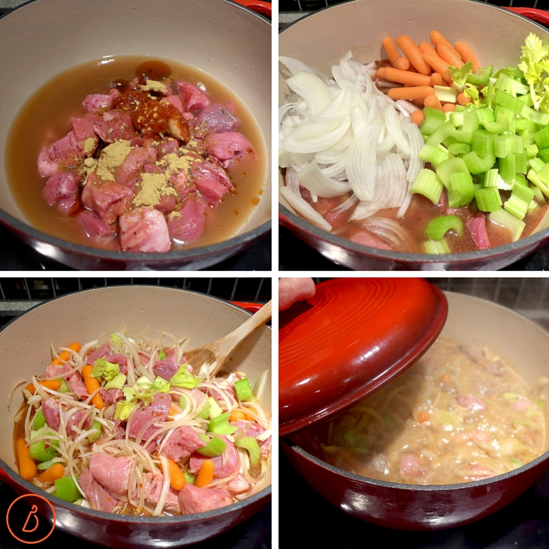 Add ingredients, stir, cover and simmer for about 2 hours.