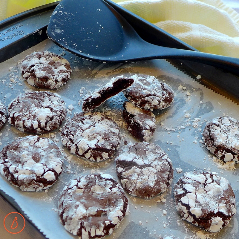 Hot chocolate crinkles fresh from the oven
